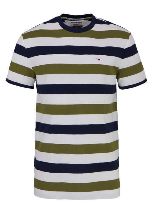 TOMMY JEANS Halbarm T-Shirt Rundhals Ringel oliv/navy/weiß