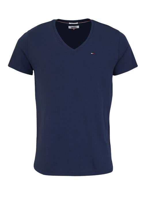 TOMMY JEANS T-Shirt Halbarm V-Ausschnitt einfarbig dunkelblau