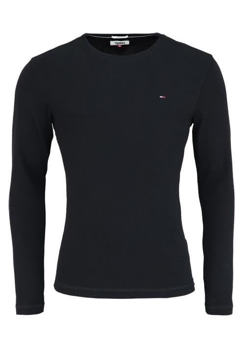 TOMMY JEANS Slim Fit T-Shirt Langarm Rundhals schwarz