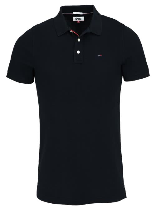 TOMMY JEANS Polo-Shirt Halbarm geknöpft mit Logostick schwarz