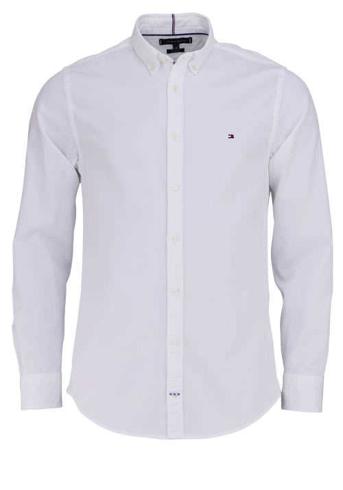 TOMMY HILFIGER Regular Fit Hemd DOBBY Langarm Button Down Kragen weiß