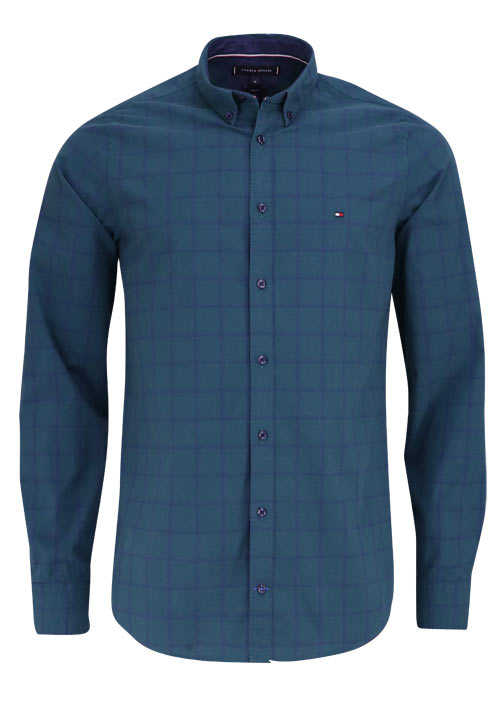 TOMMY HILFIGER Slim Fit Hemd WINDOWPANE Langarm Karo grün