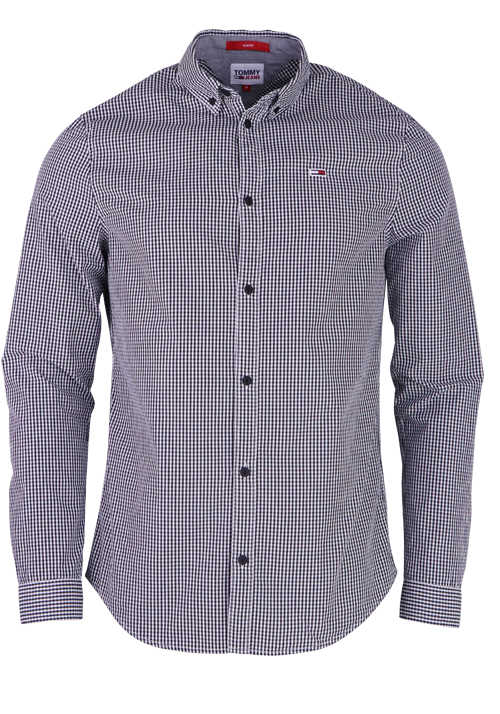TOMMY JEANS Slim Fit Langarm Hemd Button Down Kragen Karo schwarz