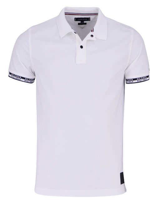 TOMMY HILFIGER Halbarm Poloshirt BADGE geknöpft weiß