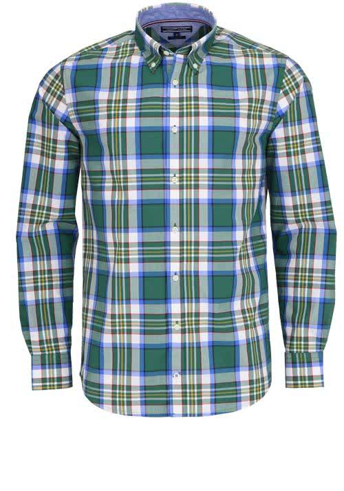 TOMMY HILFIGER Regular Fit Hemd Langarm Muster grün