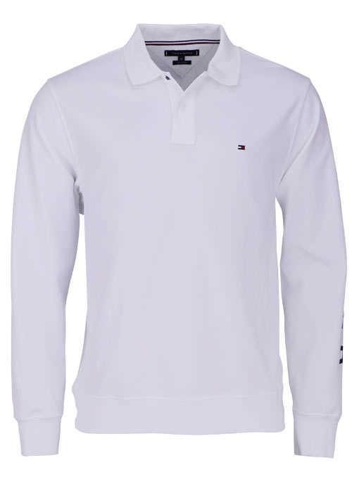 TOMMY HILFIGER Poloshirt Langarm mit geknöpften Kragen weiß