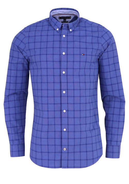 TOMMY HILFIGER Slim Fit Hemd WINDOWPANE Langarm Karo blau