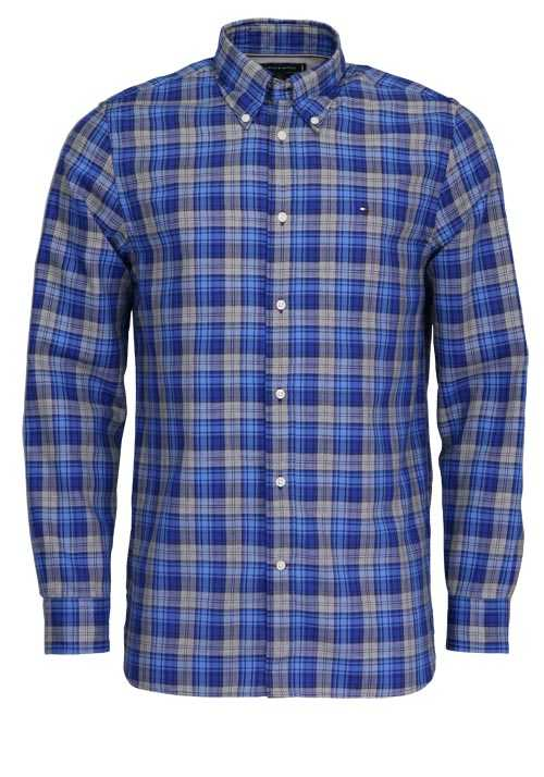 TOMMY HILFIGER Regular Fit Hemd Langarm Button-Down-Kragen Karo blau