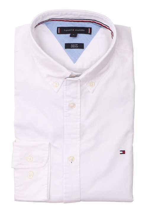 TOMMY HILFIGER Slim Fit Hemd Langarm Logo-Stick weiß