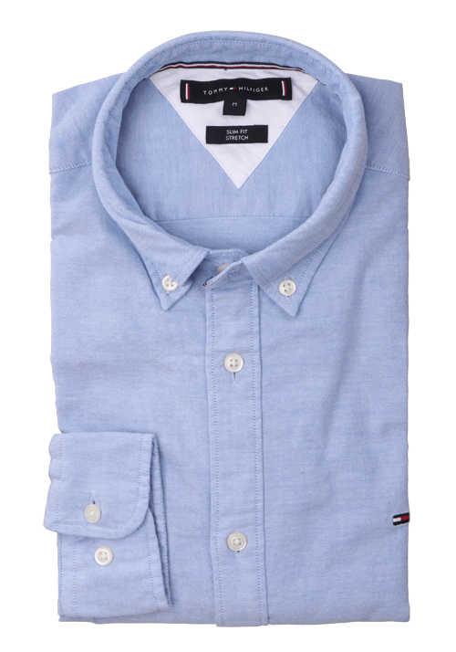 TOMMY HILFIGER Slim Fit Hemd Langarm Logo-Stick hellblau