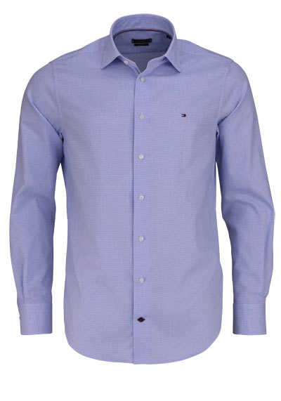 TOMMY TAILORED Regular Fit Hemd Langarm New Kent Kragen Muster blau