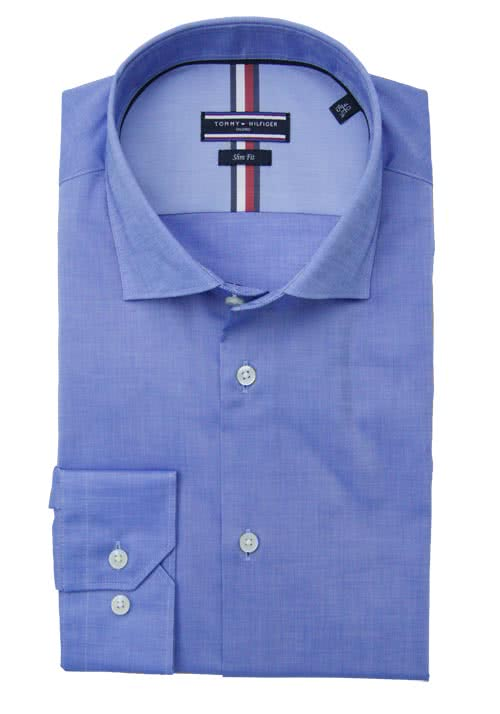 TOMMY TAILORED Slim Fit Hemd extra langer Arm mittelblau
