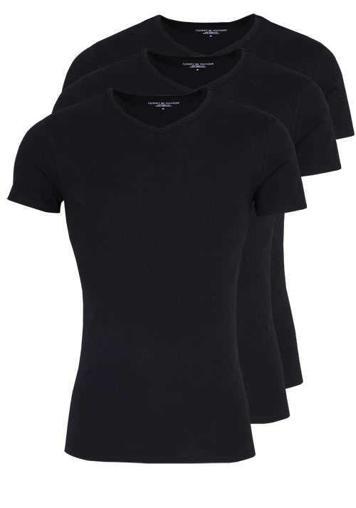 TOMMY HILFIGER Halbarm T-Shirt V-Ausschnitt Stretch 3er Pack schwarz