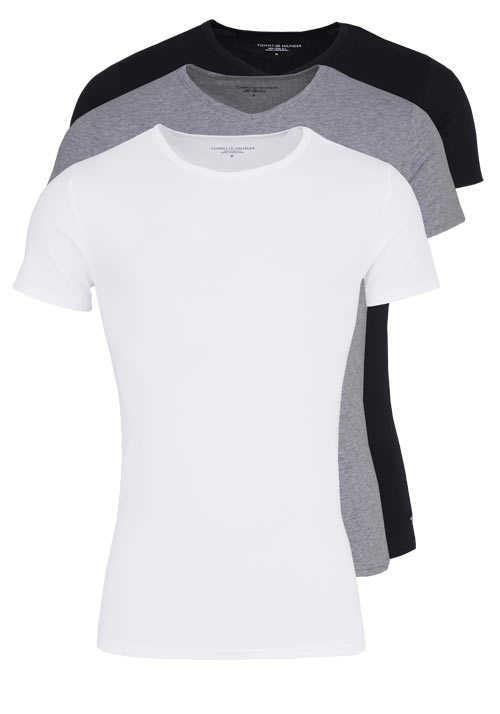 TOMMY HILFIGER Halbarm T-Shirt Stretch 3er Pack weiß/grau/schwarz
