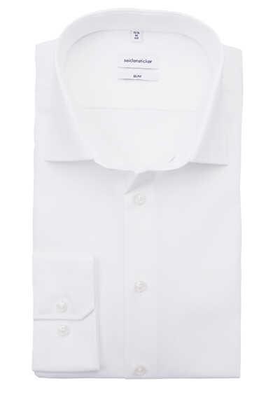 SEIDENSTICKER Slim Hemd Langarm New Kent Kragen Stretch weiß