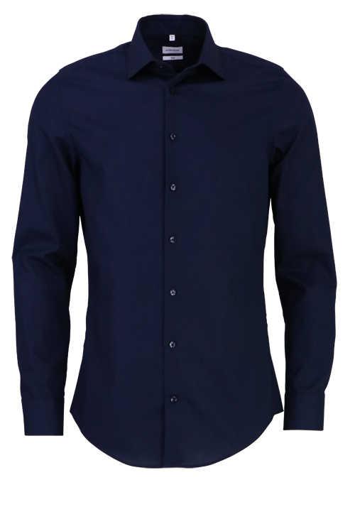 SEIDENSTICKER Slim Hemd Langarm New Kent Kragen Stretch nachtblau