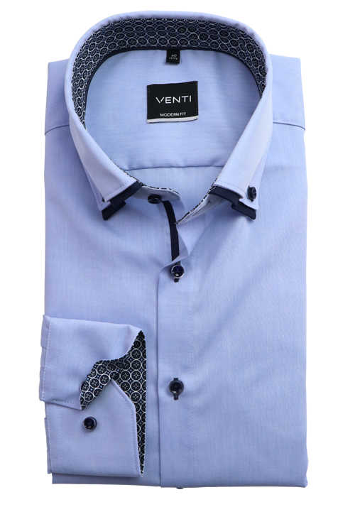 VENTI Modern Fit Businesshemd super langer Arm Button Down Doppelkragen hellblau