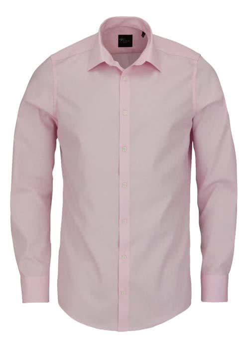 VENTI Modern Fit Hemd Basic Kent Langarm Popeline rosa