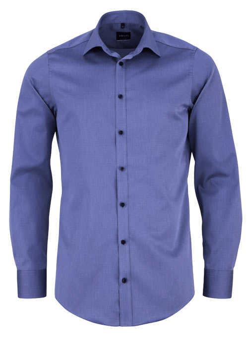 VENTI Modern Fit Hemd Langarm Haifisch Kragen Feintwill dunkelblau
