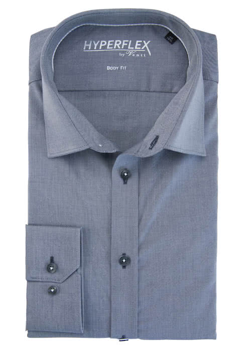 VENTI Body Fit Hemd Langarm New Kent Kragen Chambray mittelgrau
