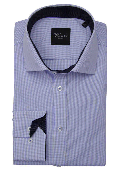 VENTI Slim Fit Hemd super langer Arm New Kent Kragen Karo blau
