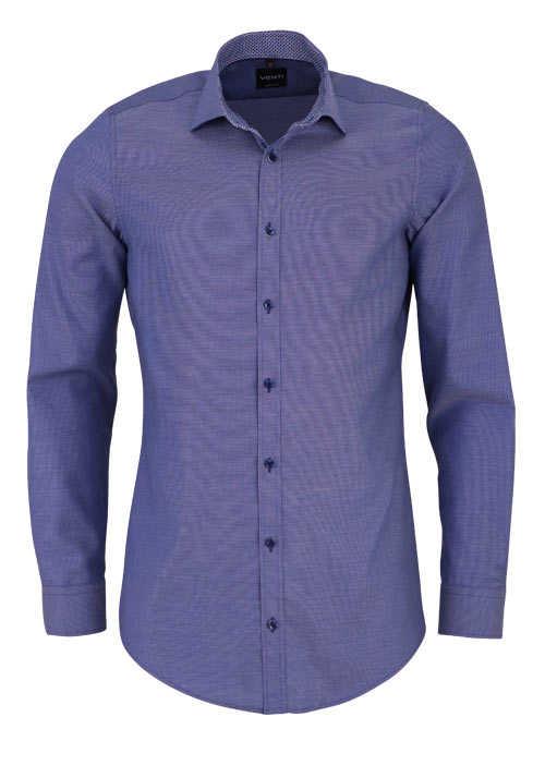 VENTI Body Fit Hemd Langarm New Kent Kragen mit Besatz dunkelblau