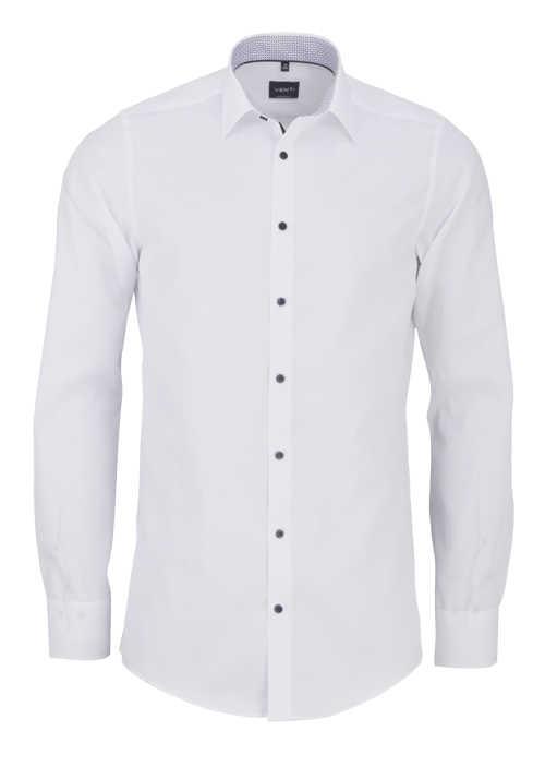 VENTI Modern Fit Hemd Langarm New Kent Kragen Patch weiß